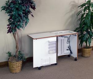 "Fashion Cabinets of America (Roberts) 2410TT Tiny Titan Saver Sewing Machine Cabinet 23 5/8x17 3/8"", Electric Lift, 18 5/8x11"" Opening, 1 Bin, 4 Trays"