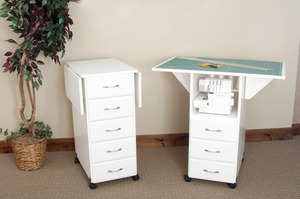 Fashion Cabinets 93C 3-Drawer & Machine Shelf, OR, 95C 5-Drawer, Cutting Sewing and Craft Table, 39x25in White