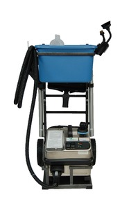 "Euro Steam, ES6100, Commercial Vapor Cleaner, Continuous Fill, 3L Boiler 330F, 5L Tank, 16A,1600W, 85PSI, 6Bar, 4""Wheels, 13Tools, 12'Hose, 14'Cord, ITALY"
