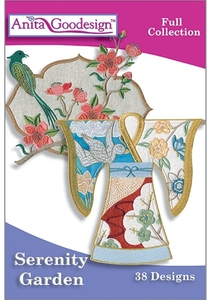 Anita Goodesign, 217AGHD, Serenity Garden, Designs, Multi-format, Embroidery Design Pack on CD,
