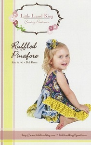 Little Lizard King 348 Ruffled Pinafore Sewing Pattern Sizes 3Mo-6Yrs, Complete with pattern for a matching dolly outfit