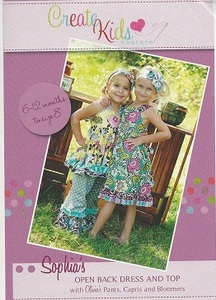 Create Kids Couture Sophia's Open Back Dress and Top Pattern Sizes 6-12mo, 12-18mo, 24m-2T, 3T, 4T, 5T, 6, 7, 8