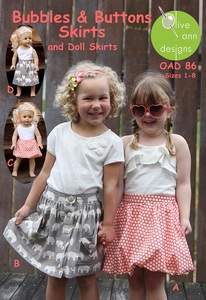 Olive Ann Designs OAD86 Bubbles & Buttons - Two Skirts with Matching Doll Skirts sz 1-8