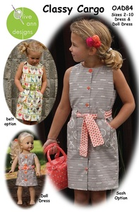 Olive Ann Designs OAD84 Stylin' Classy Cargo dress and matching Doll Dress, sz 2-10