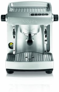 Krups XP618050 All Metal Twin Thermoblock Professional Espresso Machine, 16 Bar, Full Stainless Steel Silver, 100oz Water Fank, Programmable Features