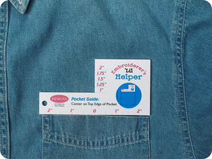 Designs in Machine Embroidery EH0002 Embroider's 'Lil Helper Pocket Guide Ruler, For Left Chest Pocket Alignment