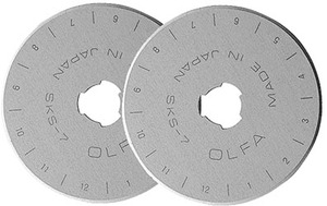 Olfa RB45-2, 45mm Replacement Straight Edge Rotary Cutter Cutting Blade 2 Pack