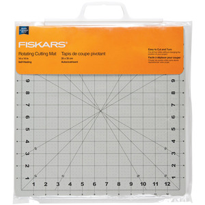 "Fiskars 01-000059J 14x14"" Rotating Rotary Cutting Mat, Self Heal, Bias Lines"