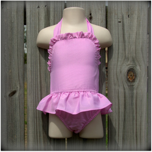 Embroidery Blanks Boutique One Piece Swimsuit, Pink Gingham Size: 3T