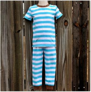 Embroidery Blanks Boutique Short Sleeve Pajamas, Turquoise Stripe Size: 10