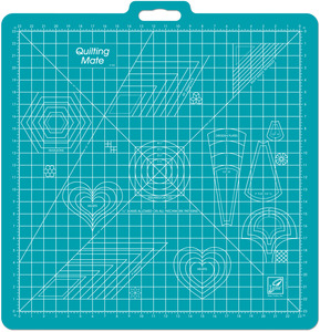 "23""X23""   -ROTARY MAT W/TEMPLAT, June Tailor JT760 Cutting Mat 23""Sq Grid, Quilt Mate, Templates, Handle"