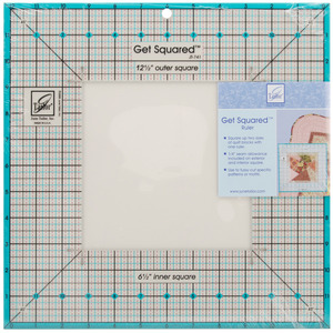 "June Tailor JT-741 Get Squared Ruler 12-1/2"" Outer Dimensions, 6-1/2"" Inner Dimensions"