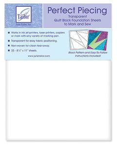 June Tailor JT-426 Perfect Piecing Transparent Quilt Block Foundation Sheets 24 Pk