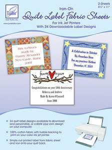 June Tailor JT-403 Quilt Label 2 Fabric Sheets 100% Cotton Iron-on Fusible Backing, Customize from Computer to Ink Jet Printer, 24 Download Designs