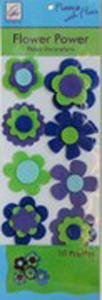 June Tailor Fleece With Flair JT-217 Flower Power Fleece Decorations (Blue/Green)