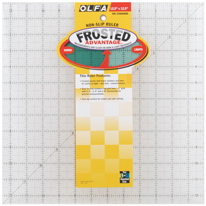 "Olfa QR-12S Square Frosted Advantage 12.5"" x 12.5"" Non-Slip, Acrylic Ruler"
