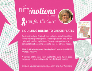 Nifty, Notions, Cut, Cure, 6, Ruler, Create, Quilt, Plate, Kaye, England, DVD