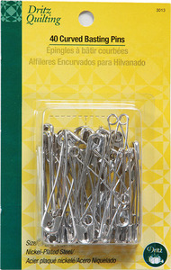 Dritz, Quilting, DL3013, 120, Curved, Basting, Safety Pins, Nickel Plated, Steel, 3 Packages, of 40 Each, Size 3