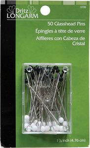 Dritz Long Arm DL3706 Glasshead Leader Pins 1-7/8 Inch (4.76 cm) 3 Packs of 50 Ct