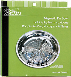 """Dritz Long Arm DL3710 6"""" Magnetic Pin Bowl with Weighted Bottom Holds Pins Needles or Other Metal Notions."""