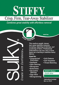 "Sulky 216-25 Stiffy Crisp Firm Tearaway Embroidery Stabilizer Backing 20"" Inch x 25 Yards"