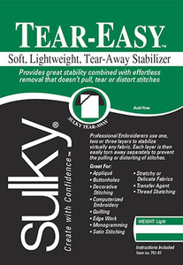 "Sulky, 752-25, Tear, Easy, Soft, Light, weight, Tear, a, way, Stabilizer, Black, 20"", 25, Yard"