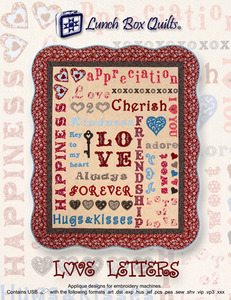 Lunch Box Quilts QP-LV-DD Love Letters 100 Separate Appliqué Embroidery Designs