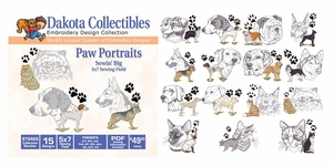 Dakota Collectibles 970469 Paw Portraits Multi-Formatted CD Embroidery Machine Designs