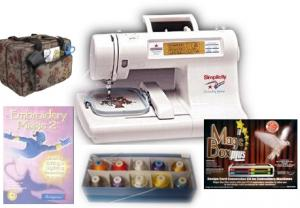 Simplicity SE3 Embroidery Machine STARTER KIT- Amazing Box II, Embroidery Magic 2 Digitizing, 3700 Design CD, 18 Spools Madeira & 25/5 Yr Ext WarrantY