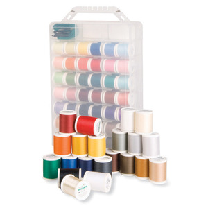 Madeira Incredible Threadable Box 63 Spool Aerofil Polyester Quilting Thread Kit, Convenient Case Doubles as a Thread Stand