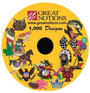 "Great Notions, 1000 Embroidery Designs, CD Collection, See All on PDF, Exclusive up to, 4X4"" , 5X7"", Designs Pack, in Multi Formats, DST, EXP, PES, JEF, XXX"