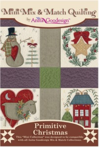 Anita Goodesign 150MAGHD Primitive Christmas Mini Mix & Match Quilting Collection Multi-format Embroidery Design Pack on CD 12 Blocks 4 Sizes Each