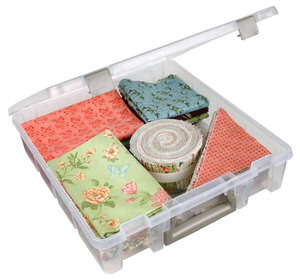 ArtBin Super Satchel Acid Free 15x14x3.5in Poly Storage Box for Quilt Blocks, Applique Patterns, Fat Quarters, Choose Clear, Purple, Teal or Rasberry