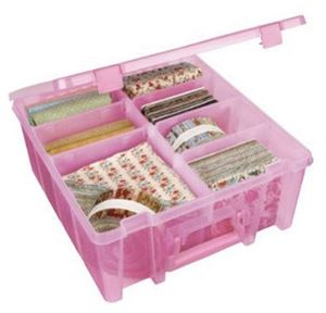 "Art, Bin, Super, Satchel, Double, Deep, Storage, Box, 15.25"", 14.125"", 6.25, Choose, Clear, Coral"