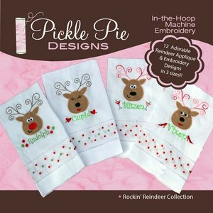 Pickle Pie Designs Rockin' Reindeer Collection Embroidery Designs CD