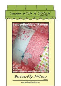 Sealed with a Stitch Butterfly Pillow Embroidery Design CD