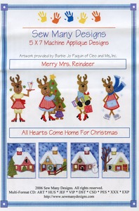 Sew Many Designs Merry Miss Reindeer Applique Designs Multi-Formatted CD