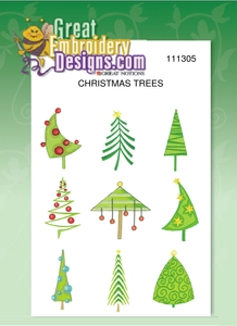 "Great Notions 111305, Christmas Trees, 4x4"" Designs, Multi-Formatted CD, Formats, CND, DST, EXP, HUS, XXX, SEW, JEF, PES"