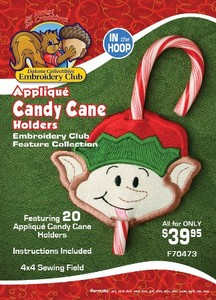 Dakota Collectibles F70473 Applique Candy Cane Holders 4X4 Designs In the Hoop, Multi-Formatted CD
