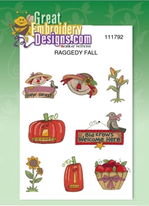 Great Notions 111792 Raggedy Fall Harvest Embroidery Designs Pack CD