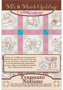 Anita Goodesign 227AGHD Trapunto Notions Multi-format Embroidery Design CD Full Mix & Match Quilting Collection 27 designs