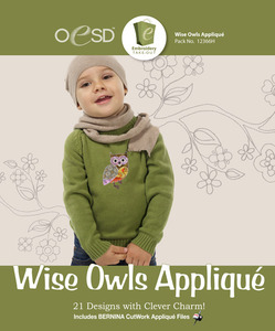 OESD 12366H Wise Owls Applique Design Collection Multiformat Embroidery Design CD