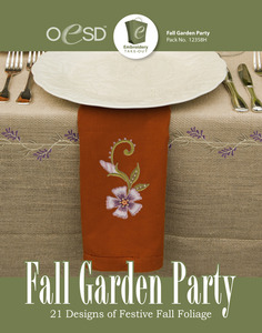 OESD 12358H Fall Garden Party Design Collection Multiformat Embroidery CD