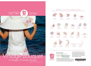 OESD 12326H Vintage Bouquet Design Collection Multiformat Embroidery Design CD