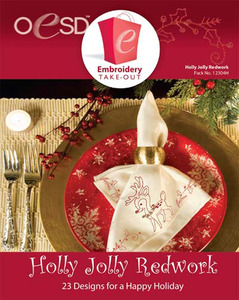 OESD 12304H Holly Jolly Redwork Design Multiformat Embroidery Design CD