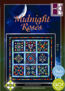 Kenny, Kreations, Midnight, Rose, Nine, Patch, Media, Quilt, Embroidery, Design, CD
