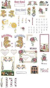 Brother SA372 No.72 40-Cross Stitch Embroidery Designs +27 Character Alphabet Lettering Font Card in .pes Format by Vermillion Stitchery