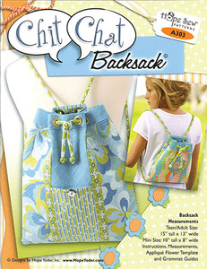 Hope Yoder A303 Chit Chat Backsack Quilted Bag 93-6151 Sewing Pattern