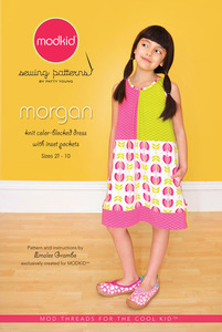 modkid MKSP042MO Morgan Color Blocked Dress Sewing Pattern, Sizes 2T-10