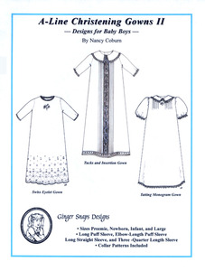 Ginger Snaps Designs A-Line Christening Gowns II Designs for Baby Boys  Sizes PR, NB, Infant and Large
